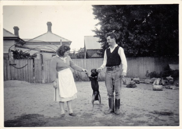 Mavis & Keith Warfe with Shep the dog